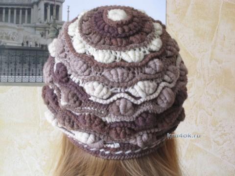 Вязаная шапка «Шоколадные ракушки» - работа Яны