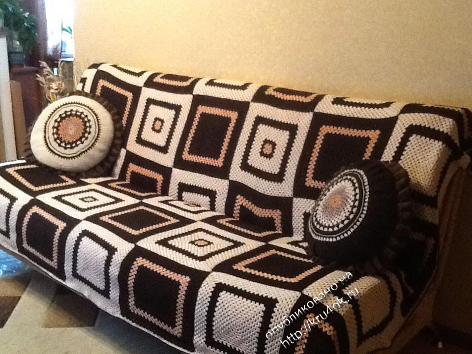 Вязание покрывала на диван спицами 719