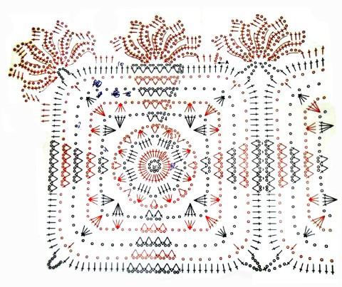 Схема вязания салфетки:
