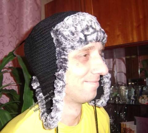 Мужская шапочка ушанка крючком