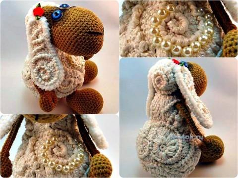 Вязаная крючком овечка - работа Исаковой Натальи