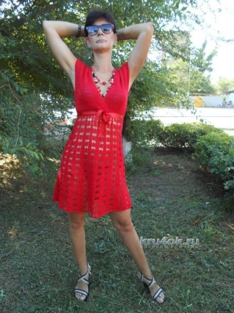 Красное вязаное платье - работа Татьяны Султановой
