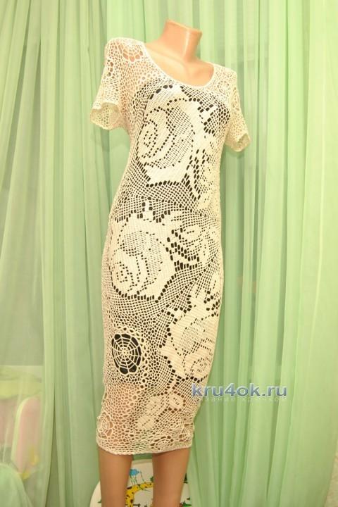 """Платье крючком """"розы"""" - работа Ефимии Андреевских"""