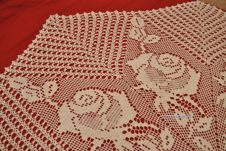 Прямоугольная скатерть крючком схемы и фото
