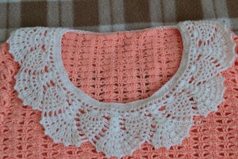Персиковый свитер крючком - работа Анастасии