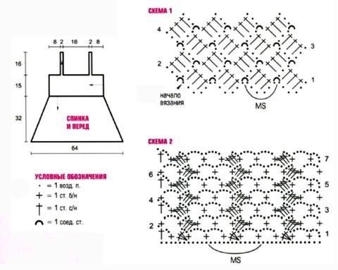 Схема вязания и выкройка топа