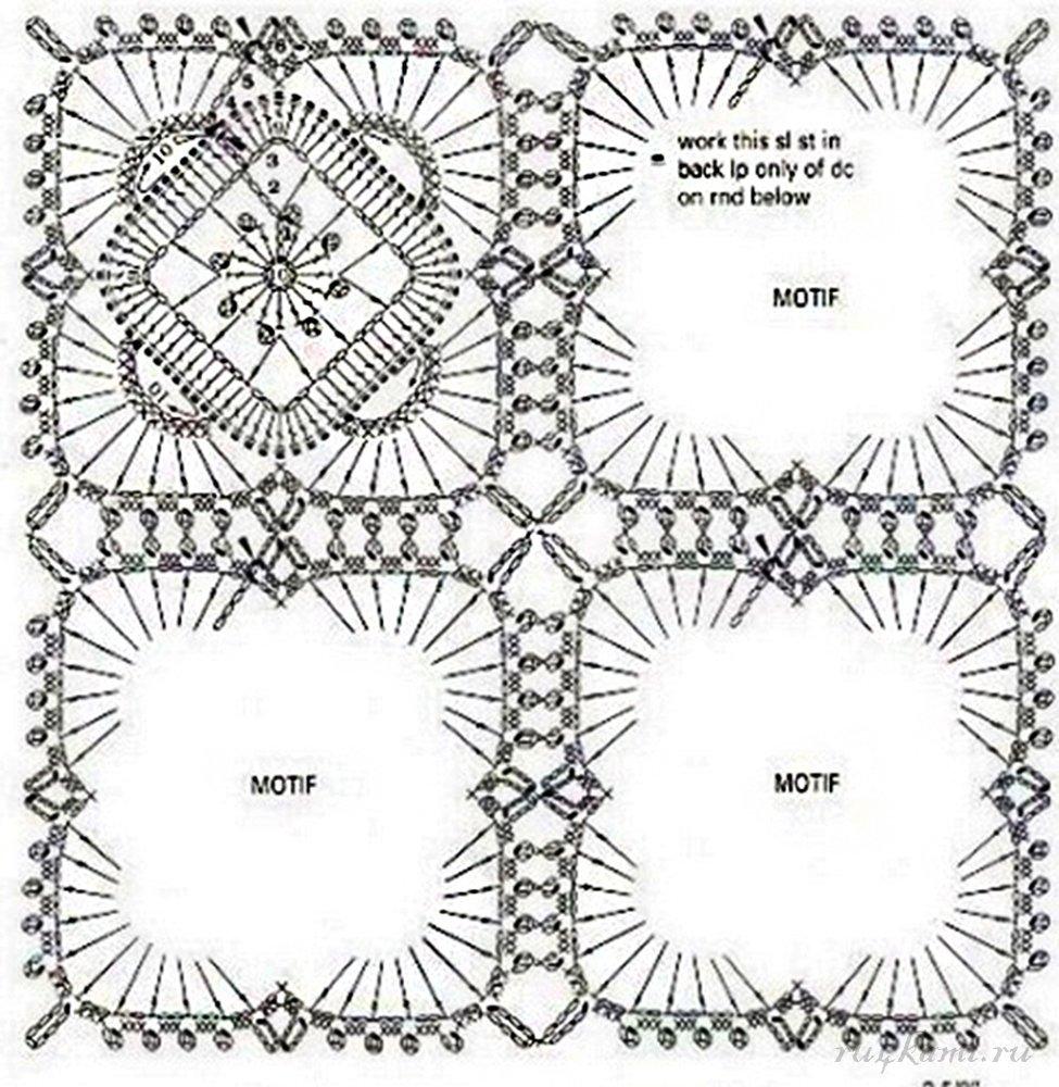 мотивов крючком схемы вязаных