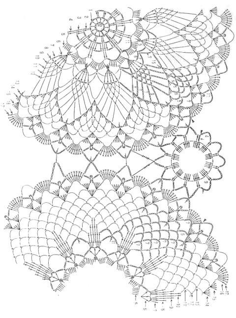 Схемы для вязания салфетки:
