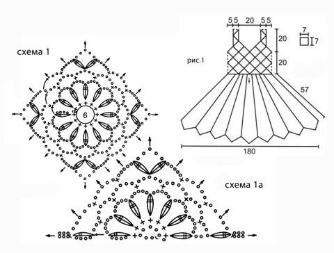 Схемы вязания и выкройка сарафана: