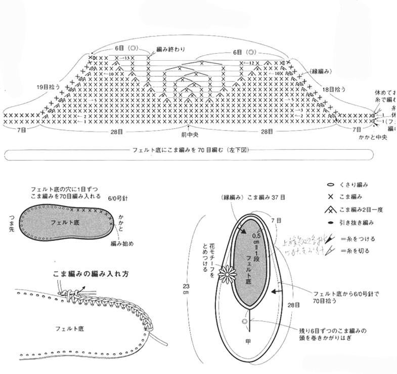 Вязаные крючком тапочки с описанием и схемой вязания