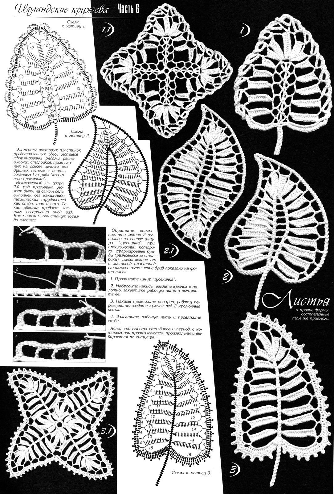 Элементы ирландского кружева листья
