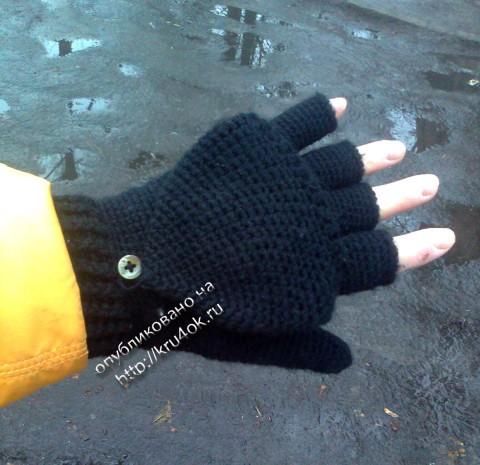 Вязаные крючком варежки - перчатки