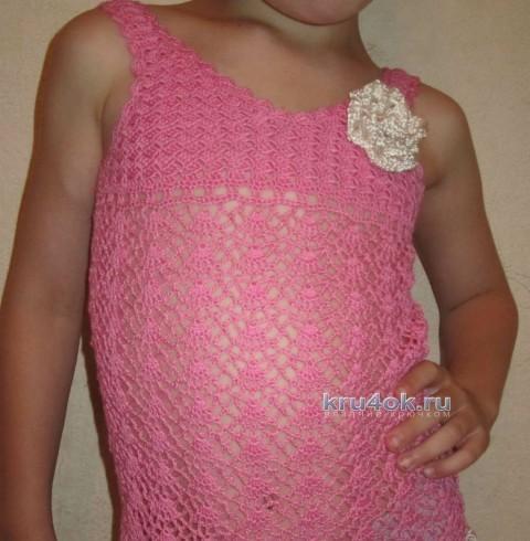 Ажурный топ для девочки - работа Яны вязание и схемы вязания