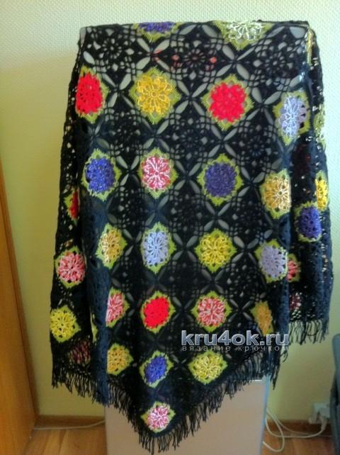Цветная шаль крючком - работа Надежды вязание и схемы вязания