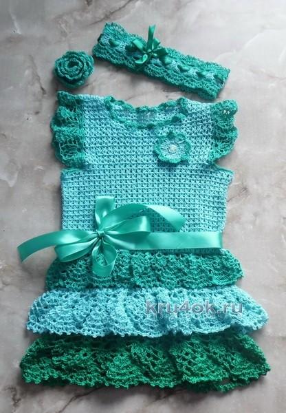 Детское платье крючком - работа Татьяны вязание и схемы вязания
