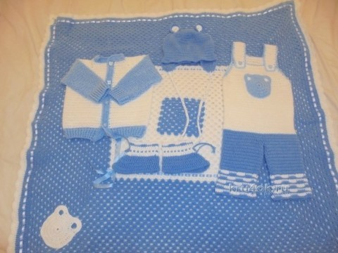 Комплект для новорожденного - работа Натальи Трусовой вязание и схемы вязания