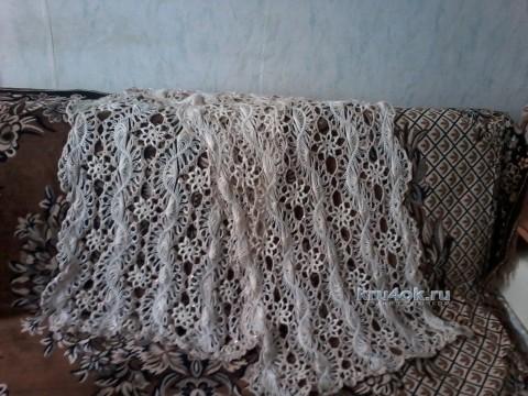 Палантин на вилке - работа Юлии вязание и схемы вязания