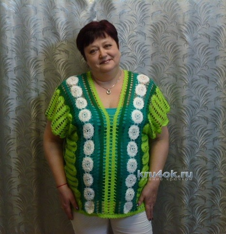 Вязаная крючком кофточка - работа Елены вязание и схемы вязания