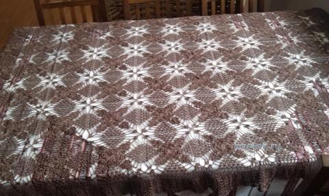 Вязаная крючком скатерть - работа Олеси вязание и схемы вязания