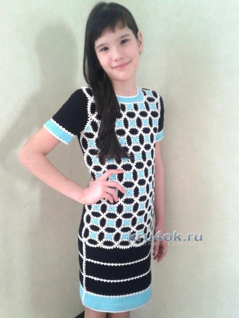Вязаное крючком платье - работа Арины вязание и схемы вязания