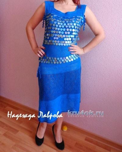 Вязаное крючком платье - работа Надежды Павловны вязание и схемы вязания