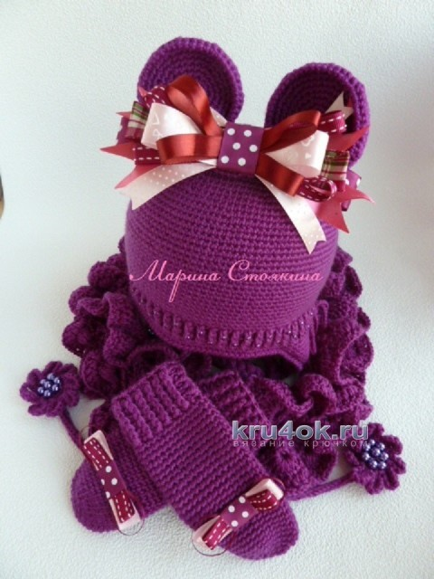 Вязаные крючком шапочки с ушками от Марины Стоякиной