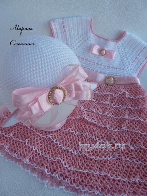 Вязаный крючком комплект для девочки - работа Марины Стоякиной вязание и схемы вязания