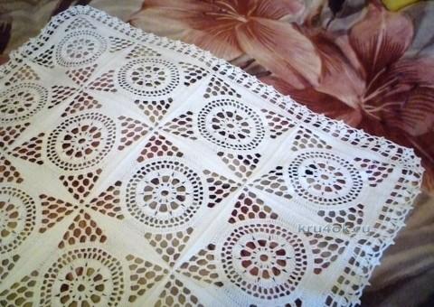 Вязаный крючком плед - работа Елены вязание и схемы вязания