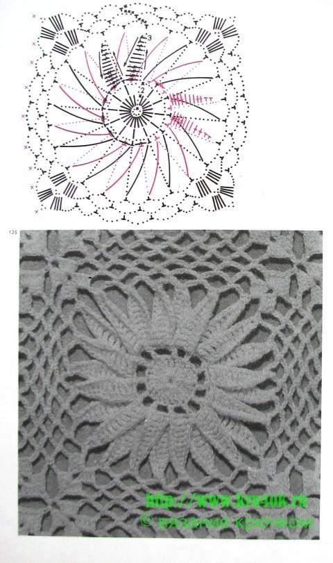 Схема вязания чехла для подушки:
