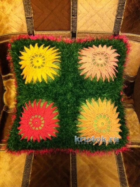 Вязаный чехол для подушки - работа Надежды