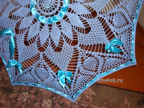 Ажурный зонт крючком - работа Елены