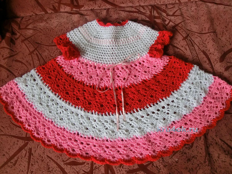 Вязаное платье для девочки крючком. 203 схемы вязания 35