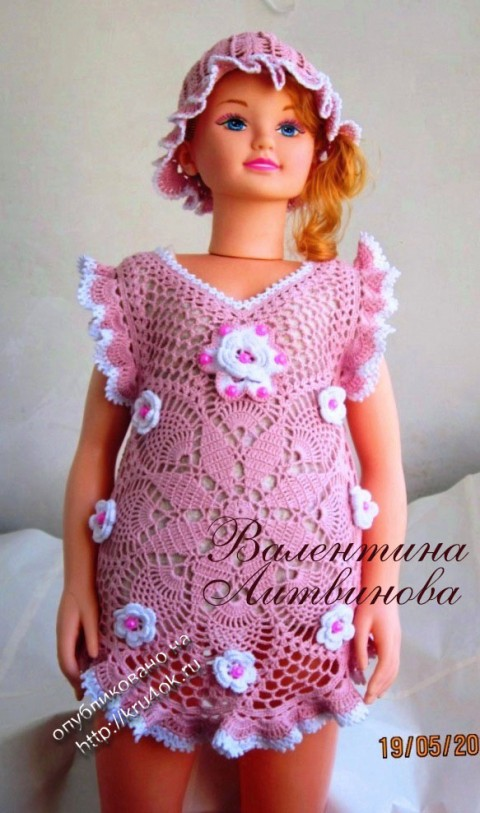 Платье и панамка для девочки крючком