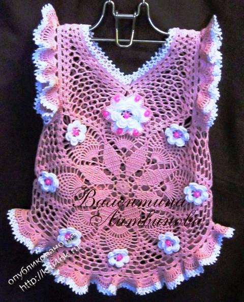 Платье и панамка для девочки крючком - работы Валентины Литвиновой