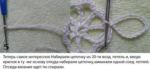 Цветок для ирландского кружева. МК вязание и схемы вязания
