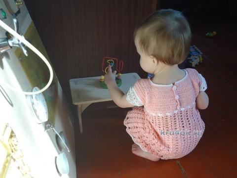 Детское платье крючком - работа Елены вязание и схемы вязания