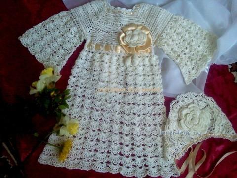 Крестильный комплект для девочки - работа Светланы Булгаковой вязание и схемы вязания
