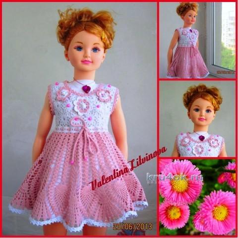 Платье для девочки - работа Валентины Литвиновой вязание и схемы вязания