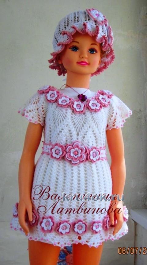 Платье и панама - комплект для девочки крючком