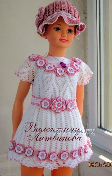 Платье и панама - комплект для девочки крючком вязание и схемы вязания
