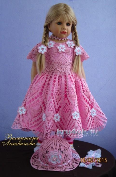 Платье и панамка для девочки - работы Валентины Литвиновой вязание и схемы вязания
