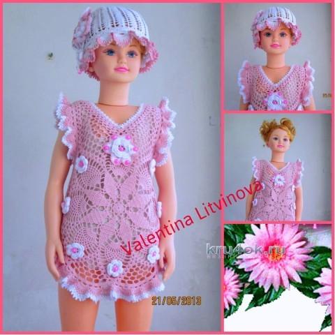 Платье и панамка для девочки крючком - работы Валентин Литвиновой вязание и схемы вязания