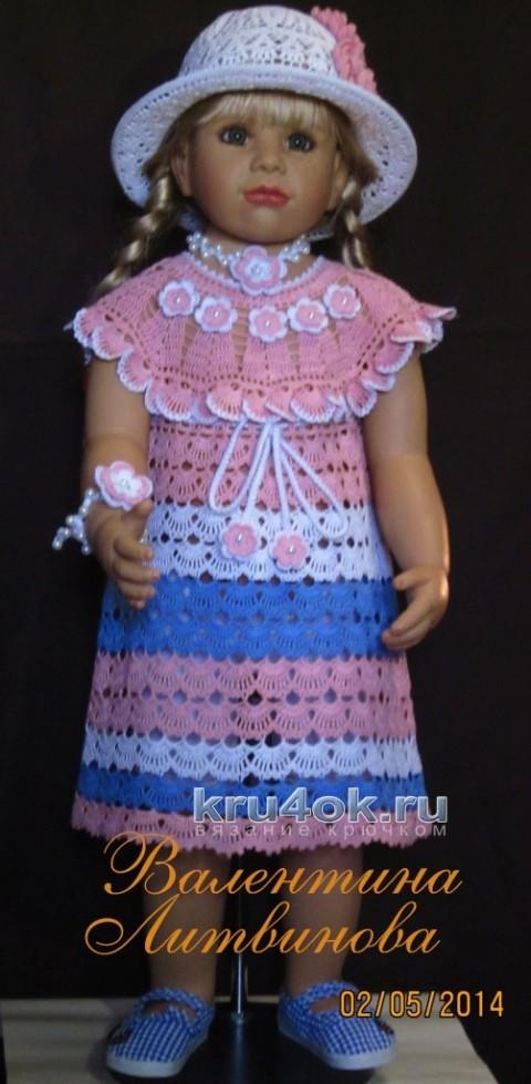 Платье, шапочка и повязка - комплект для девочки крючком вязание и схемы вязания