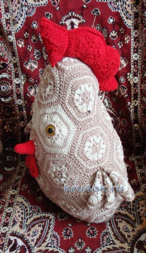 """Подушка """"Петушок"""" - работа Анны вязание и схемы вязания"""