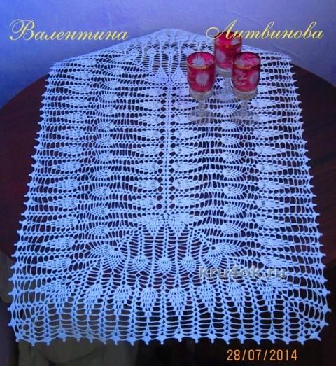 Прямоугольная скатерть крючком - работа Валентины Литвиновой вязание и схемы вязания