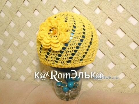 Шапочка для девочки крючком - работа кaRomЭлькa вязание и схемы вязания