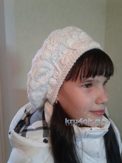 Теплый берет крючком - работа Арины вязание и схемы вязания