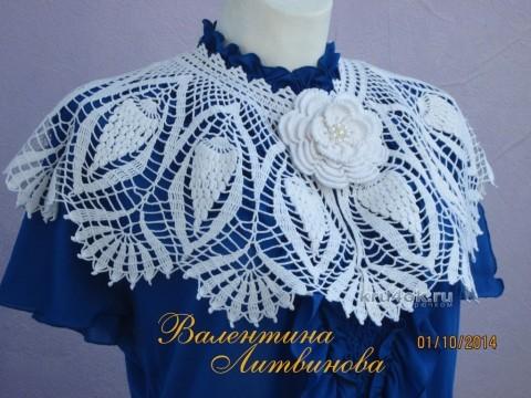 Вязаная крючком накидка - работа Валентины Литвиновой вязание и схемы вязания