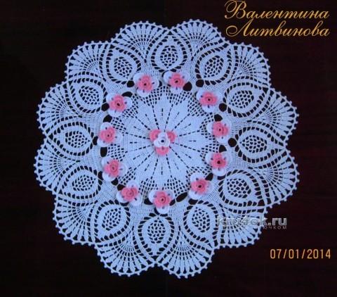 Вязаная крючком салфетка - работа Валентины Литвиновой вязание и схемы вязания