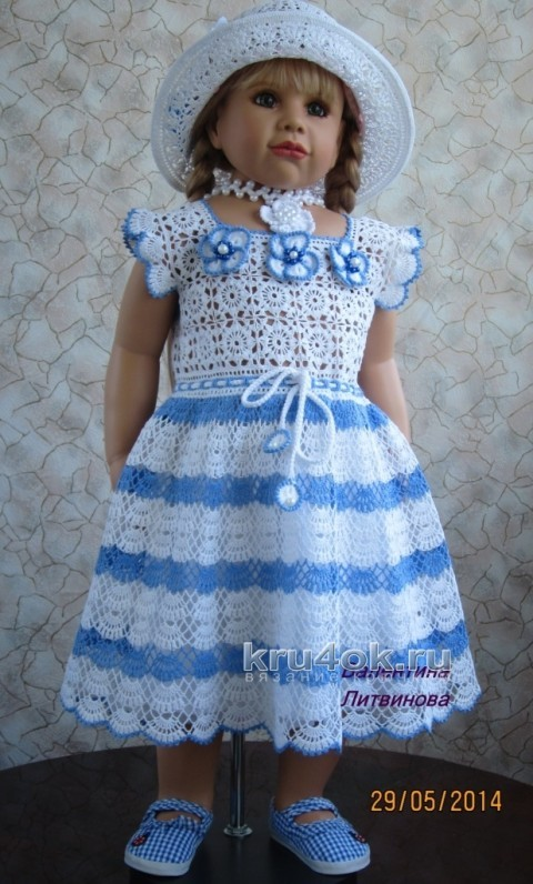 Вязаное детское платье - работа Валентины Литвиновой вязание и схемы вязания